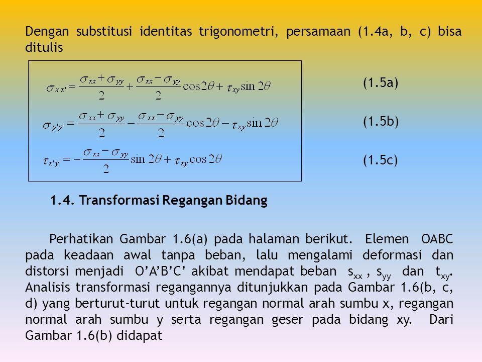 Dengan substitusi identitas trigonometri, persamaan (1.4a, b, c) bisa ditulis (1.5a) (1.5b) (1.5c) 1.4. Transformasi Regangan Bidang Perhatikan Gambar