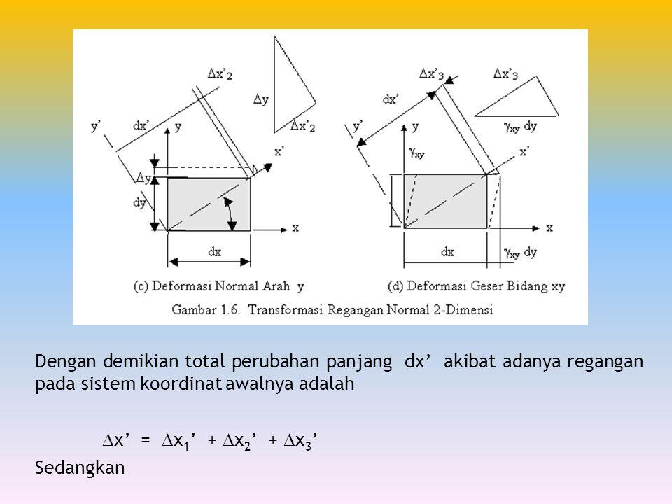 Dengan demikian total perubahan panjang dx' akibat adanya regangan pada sistem koordinat awalnya adalah  x' =  x 1 ' +  x 2 ' +  x 3 ' Sedangkan
