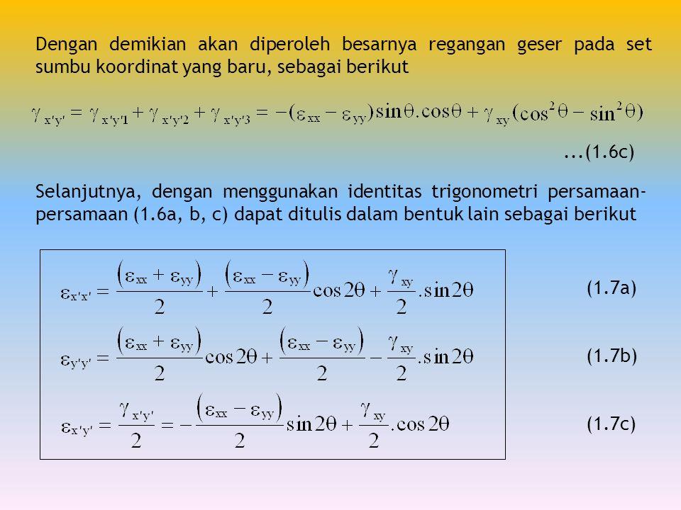 Dengan demikian akan diperoleh besarnya regangan geser pada set sumbu koordinat yang baru, sebagai berikut...(1.6c) Selanjutnya, dengan menggunakan id