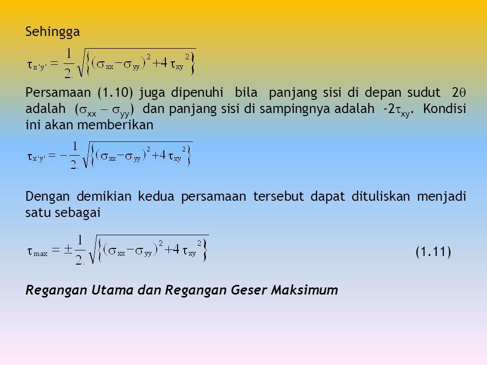 Sehingga Persamaan (1.10) juga dipenuhi bila panjang sisi di depan sudut 2  adalah (  xx   yy ) dan panjang sisi di sampingnya adalah -2  xy. Kon