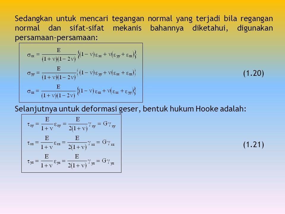 Sedangkan untuk mencari tegangan normal yang terjadi bila regangan normal dan sifat-sifat mekanis bahannya diketahui, digunakan persamaan-persamaan: (