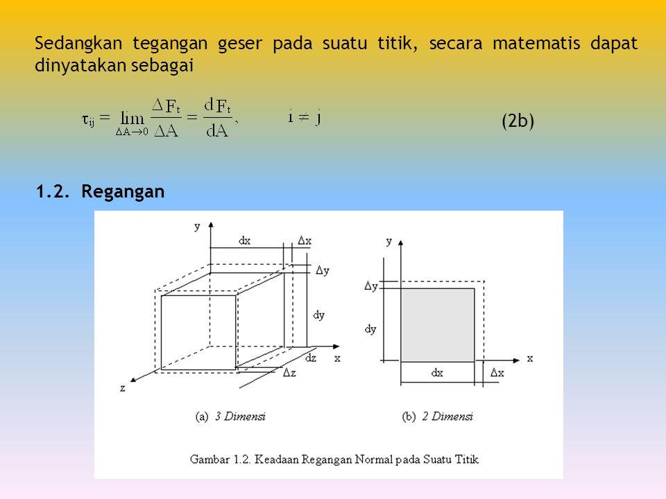 Sedangkan tegangan geser pada suatu titik, secara matematis dapat dinyatakan sebagai (2b) 1.2. Regangan