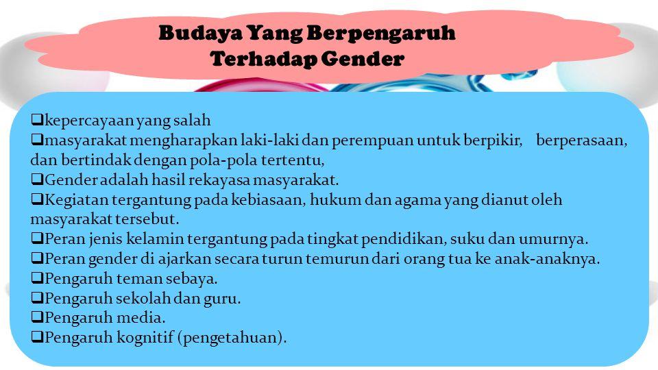 Budaya Yang Berpengaruh Terhadap Gender  kepercayaan yang salah  masyarakat mengharapkan laki-laki dan perempuan untuk berpikir, berperasaan, dan bertindak dengan pola-pola tertentu,  Gender adalah hasil rekayasa masyarakat.