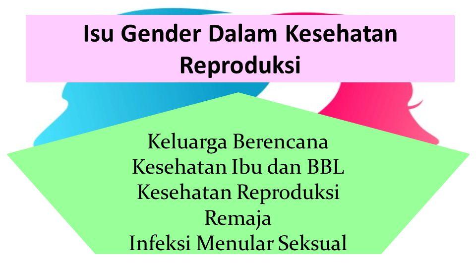 Isu Gender Dalam Kesehatan Reproduksi Keluarga Berencana Kesehatan Ibu dan BBL Kesehatan Reproduksi Remaja Infeksi Menular Seksual