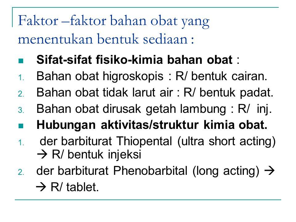 Faktor –faktor bahan obat yang menentukan bentuk sediaan : Sifat-sifat fisiko-kimia bahan obat : 1. Bahan obat higroskopis : R/ bentuk cairan. 2. Baha