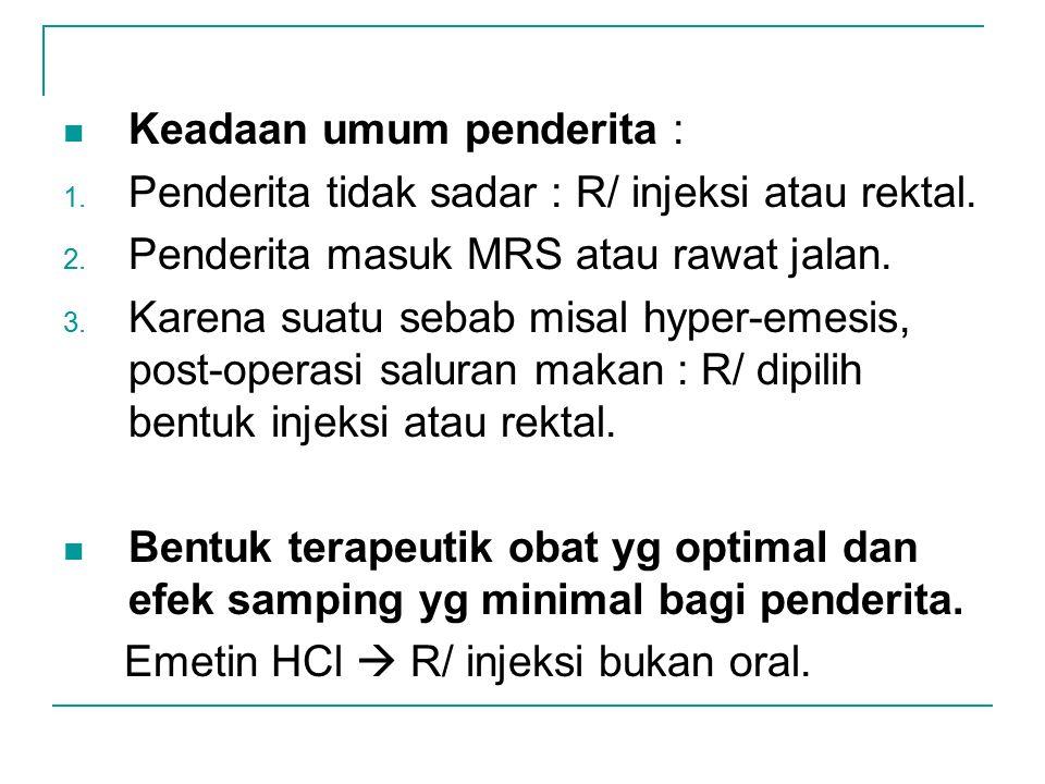 Keadaan umum penderita : 1. Penderita tidak sadar : R/ injeksi atau rektal. 2. Penderita masuk MRS atau rawat jalan. 3. Karena suatu sebab misal hyper