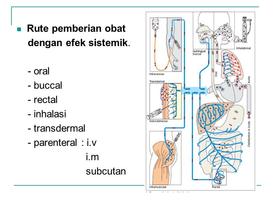 Rute pemberian obat dengan efek sistemik. - oral - buccal - rectal - inhalasi - transdermal - parenteral : i.v i.m subcutan