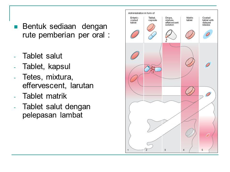 Bentuk sediaan dengan rute pemberian per oral : - Tablet salut - Tablet, kapsul - Tetes, mixtura, effervescent, larutan - Tablet matrik - Tablet salut