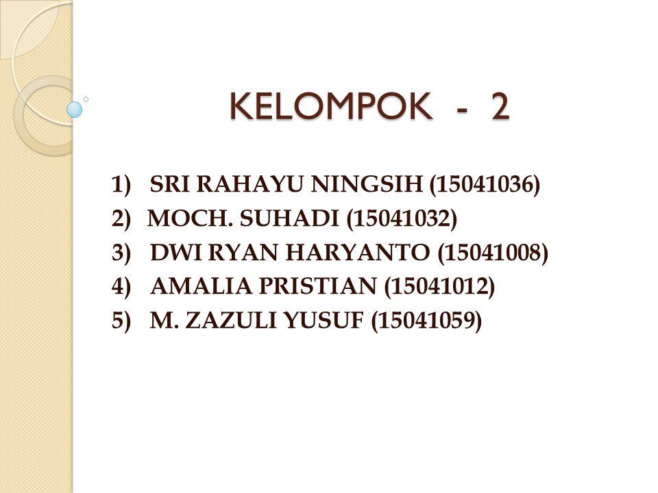 KELOMPOK - 2 1) SRI RAHAYU NINGSIH (15041036) 2)MOCH.