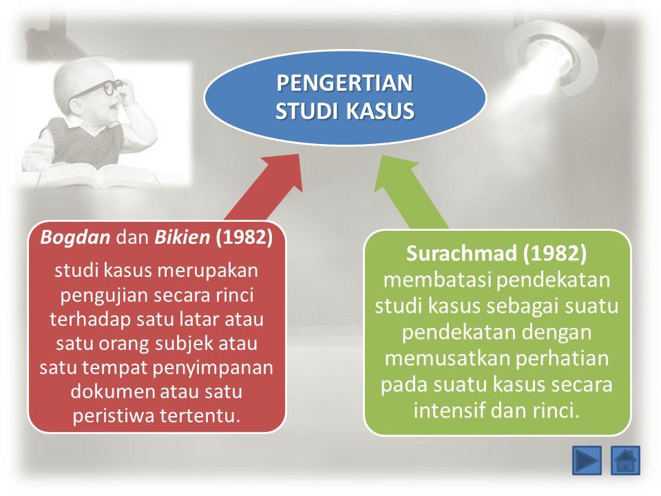 PENGERTIAN STUDI KASUS Bogdan dan Bikien (1982) studi kasus merupakan pengujian secara rinci terhadap satu latar atau satu orang subjek atau satu temp