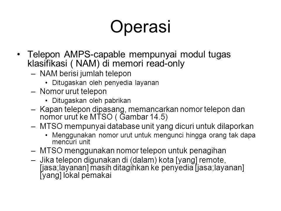 Operasi Telepon AMPS-capable mempunyai modul tugas klasifikasi ( NAM) di memori read-only –NAM berisi jumlah telepon Ditugaskan oleh penyedia layanan –Nomor urut telepon Ditugaskan oleh pabrikan –Kapan telepon dipasang, memancarkan nomor telepon dan nomor urut ke MTSO ( Gambar 14.5) –MTSO mempunyai database unit yang dicuri untuk dilaporkan Menggunakan nomor urut untuk mengunci hingga orang tak dapa mencuri unit –MTSO menggunakan nomor telepon untuk penagihan –Jika telepon digunakan di (dalam) kota [yang] remote, [jasa;layanan] masih ditagihkan ke penyedia [jasa;layanan] [yang] lokal pemakai