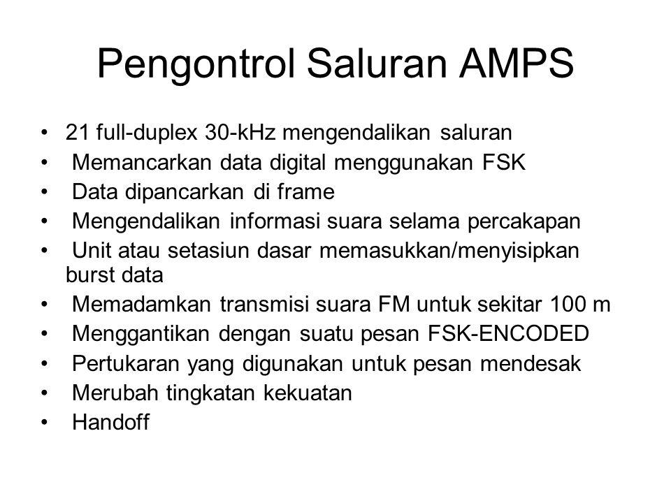 Pengontrol Saluran AMPS 21 full-duplex 30-kHz mengendalikan saluran Memancarkan data digital menggunakan FSK Data dipancarkan di frame Mengendalikan informasi suara selama percakapan Unit atau setasiun dasar memasukkan/menyisipkan burst data Memadamkan transmisi suara FM untuk sekitar 100 m Menggantikan dengan suatu pesan FSK-ENCODED Pertukaran yang digunakan untuk pesan mendesak Merubah tingkatan kekuatan Handoff