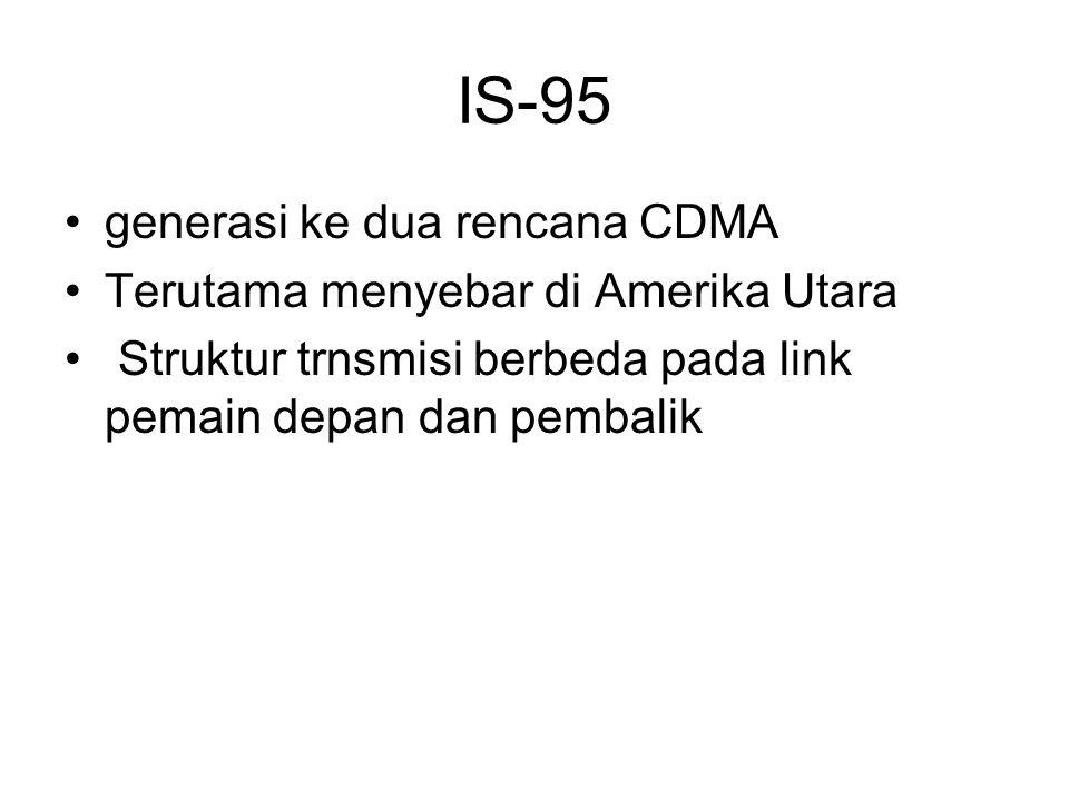 IS-95 generasi ke dua rencana CDMA Terutama menyebar di Amerika Utara Struktur trnsmisi berbeda pada link pemain depan dan pembalik