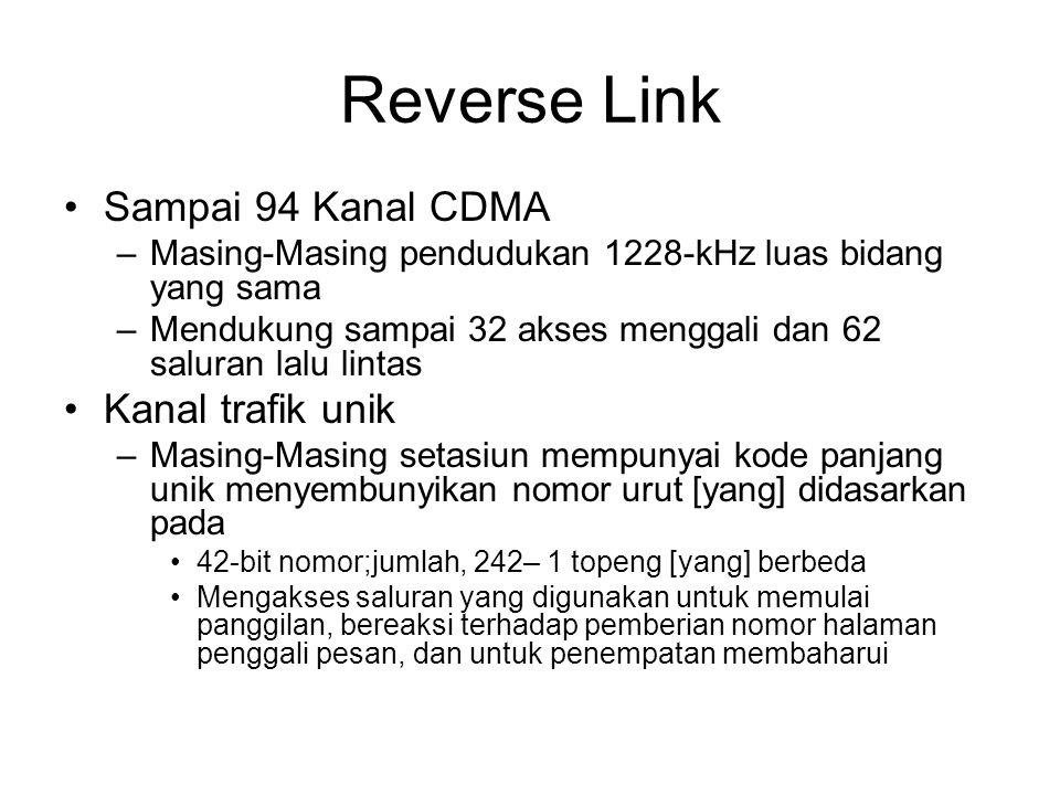 Reverse Link Sampai 94 Kanal CDMA –Masing-Masing pendudukan 1228-kHz luas bidang yang sama –Mendukung sampai 32 akses menggali dan 62 saluran lalu lintas Kanal trafik unik –Masing-Masing setasiun mempunyai kode panjang unik menyembunyikan nomor urut [yang] didasarkan pada 42-bit nomor;jumlah, 242– 1 topeng [yang] berbeda Mengakses saluran yang digunakan untuk memulai panggilan, bereaksi terhadap pemberian nomor halaman penggali pesan, dan untuk penempatan membaharui