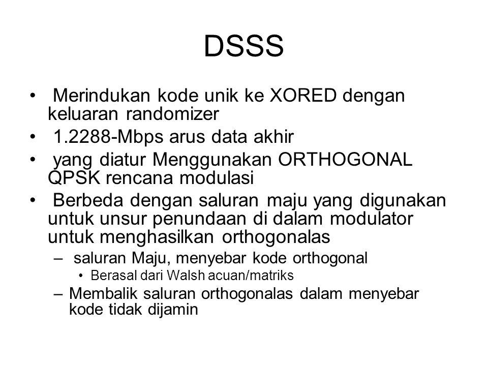 DSSS Merindukan kode unik ke XORED dengan keluaran randomizer 1.2288-Mbps arus data akhir yang diatur Menggunakan ORTHOGONAL QPSK rencana modulasi Berbeda dengan saluran maju yang digunakan untuk unsur penundaan di dalam modulator untuk menghasilkan orthogonalas – saluran Maju, menyebar kode orthogonal Berasal dari Walsh acuan/matriks –Membalik saluran orthogonalas dalam menyebar kode tidak dijamin