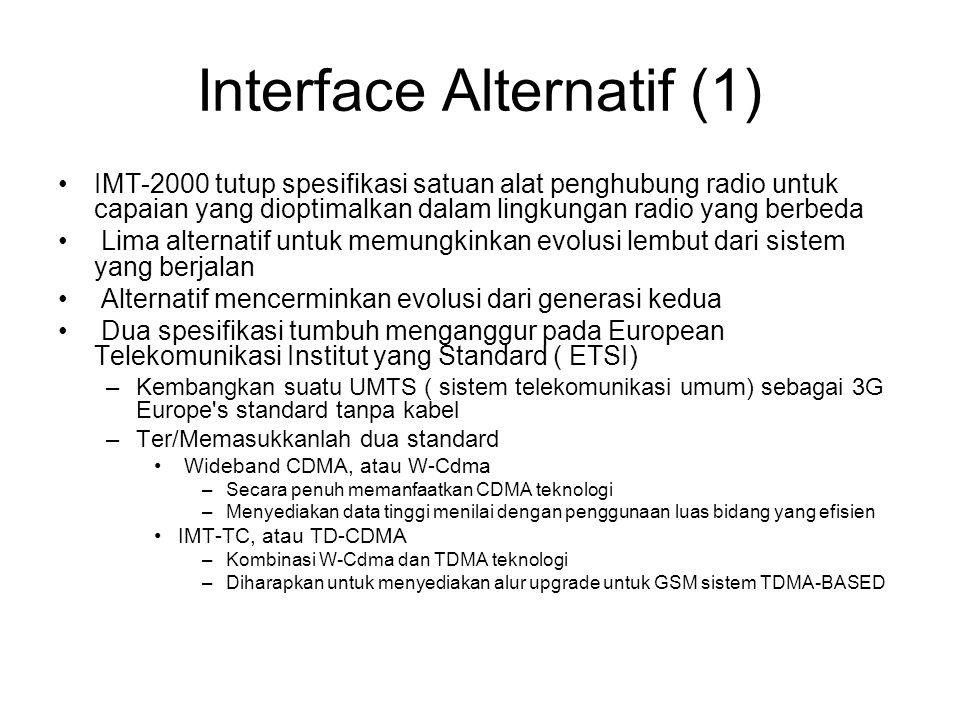 Interface Alternatif (1) IMT-2000 tutup spesifikasi satuan alat penghubung radio untuk capaian yang dioptimalkan dalam lingkungan radio yang berbeda Lima alternatif untuk memungkinkan evolusi lembut dari sistem yang berjalan Alternatif mencerminkan evolusi dari generasi kedua Dua spesifikasi tumbuh menganggur pada European Telekomunikasi Institut yang Standard ( ETSI) –Kembangkan suatu UMTS ( sistem telekomunikasi umum) sebagai 3G Europe s standard tanpa kabel –Ter/Memasukkanlah dua standard Wideband CDMA, atau W-Cdma –Secara penuh memanfaatkan CDMA teknologi –Menyediakan data tinggi menilai dengan penggunaan luas bidang yang efisien IMT-TC, atau TD-CDMA –Kombinasi W-Cdma dan TDMA teknologi –Diharapkan untuk menyediakan alur upgrade untuk GSM sistem TDMA-BASED
