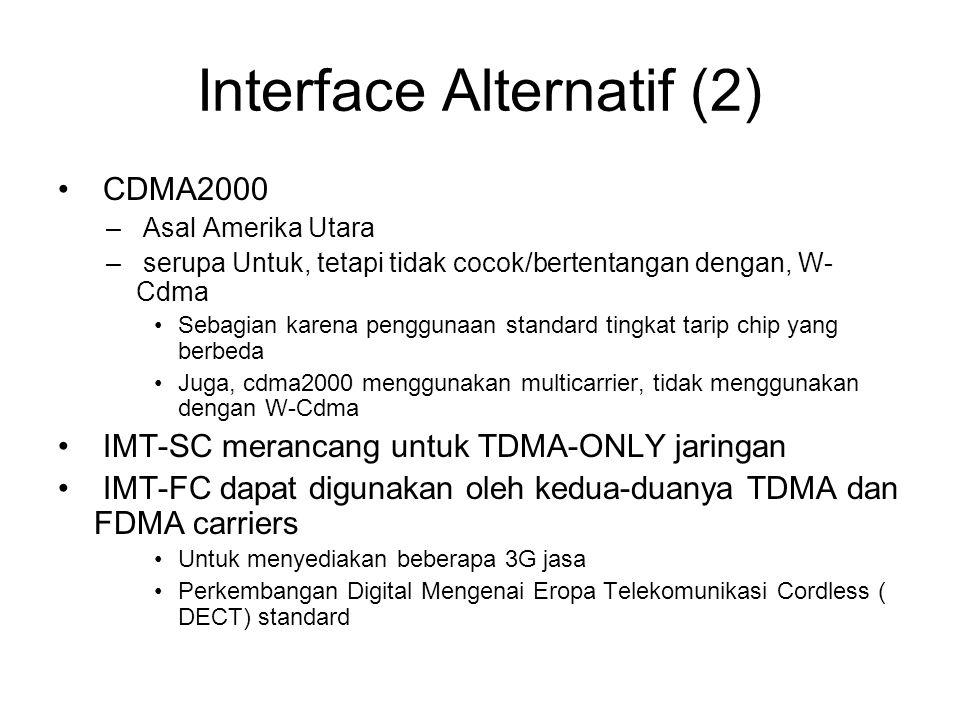 Interface Alternatif (2) CDMA2000 – Asal Amerika Utara – serupa Untuk, tetapi tidak cocok/bertentangan dengan, W- Cdma Sebagian karena penggunaan standard tingkat tarip chip yang berbeda Juga, cdma2000 menggunakan multicarrier, tidak menggunakan dengan W-Cdma IMT-SC merancang untuk TDMA-ONLY jaringan IMT-FC dapat digunakan oleh kedua-duanya TDMA dan FDMA carriers Untuk menyediakan beberapa 3G jasa Perkembangan Digital Mengenai Eropa Telekomunikasi Cordless ( DECT) standard