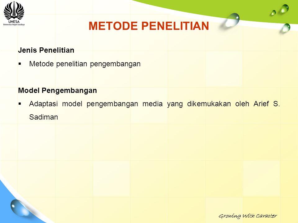 METODE PENELITIAN Jenis Penelitian  Metode penelitian pengembangan Model Pengembangan  Adaptasi model pengembangan media yang dikemukakan oleh Arief