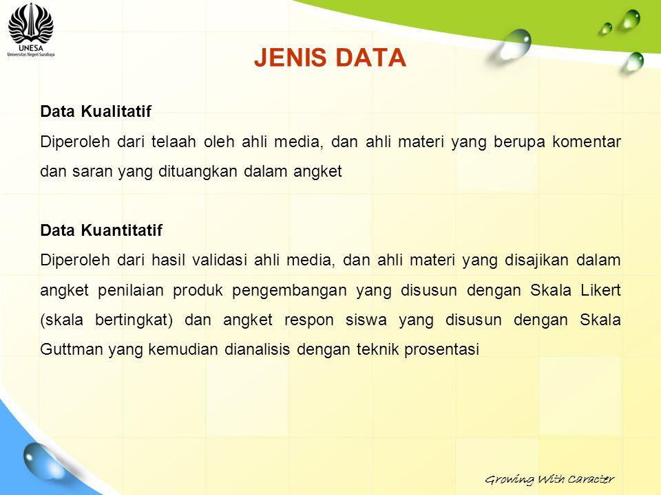 JENIS DATA Data Kualitatif Diperoleh dari telaah oleh ahli media, dan ahli materi yang berupa komentar dan saran yang dituangkan dalam angket Data Kua