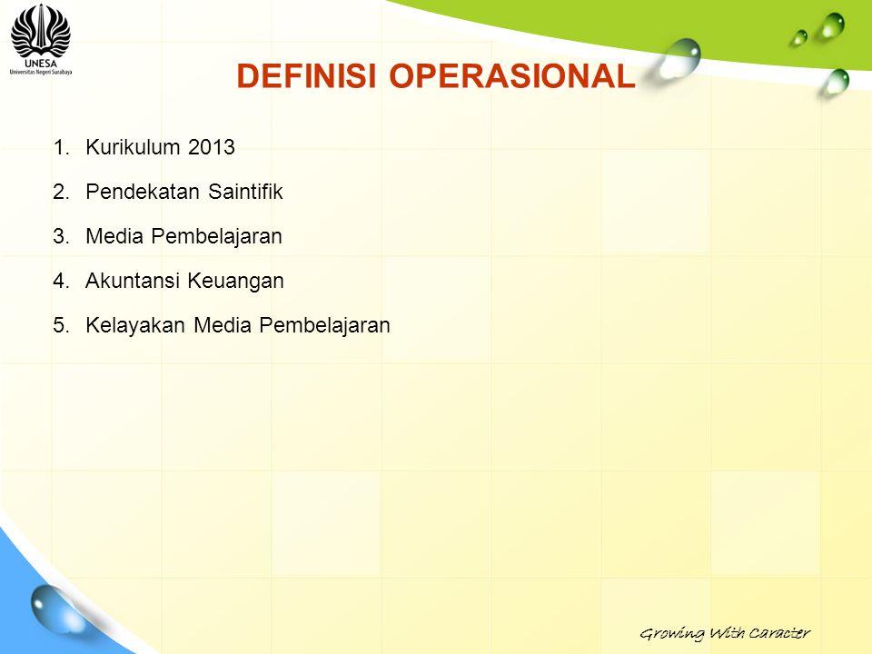 DEFINISI OPERASIONAL 1.Kurikulum 2013 2.Pendekatan Saintifik 3.Media Pembelajaran 4.Akuntansi Keuangan 5.Kelayakan Media Pembelajaran Growing With Car
