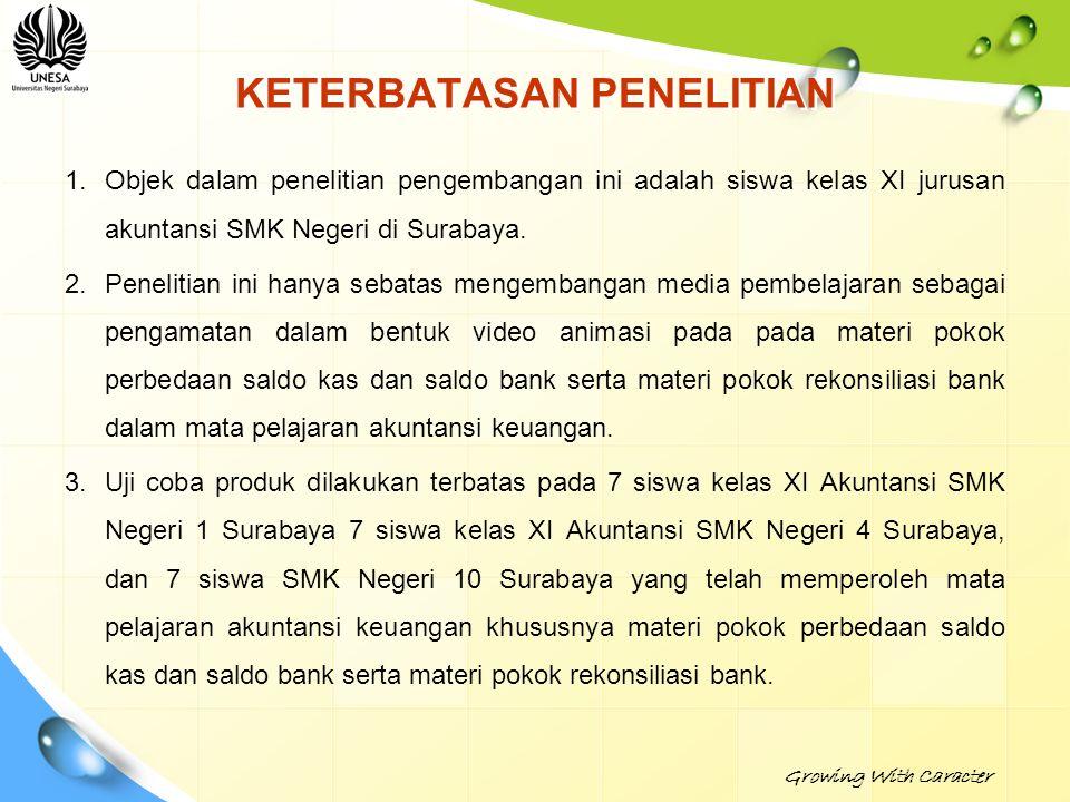 KETERBATASAN PENELITIAN 1.Objek dalam penelitian pengembangan ini adalah siswa kelas XI jurusan akuntansi SMK Negeri di Surabaya. 2.Penelitian ini han