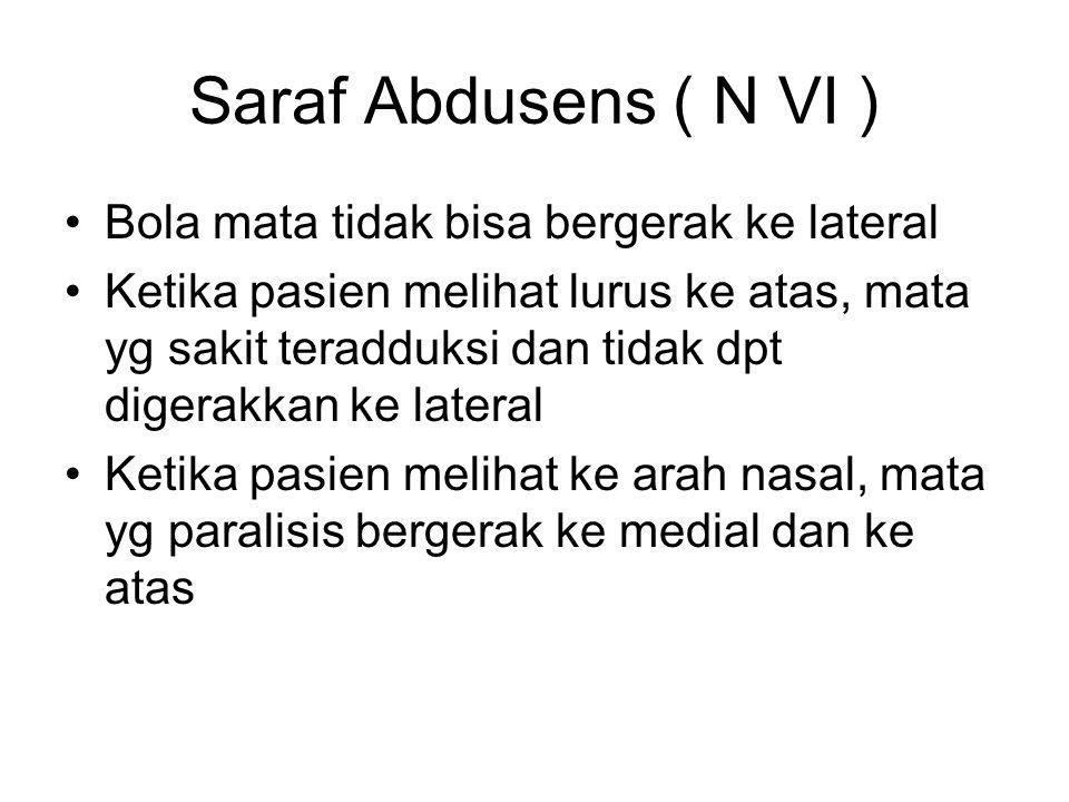 Saraf Abdusens ( N VI ) Bola mata tidak bisa bergerak ke lateral Ketika pasien melihat lurus ke atas, mata yg sakit teradduksi dan tidak dpt digerakka