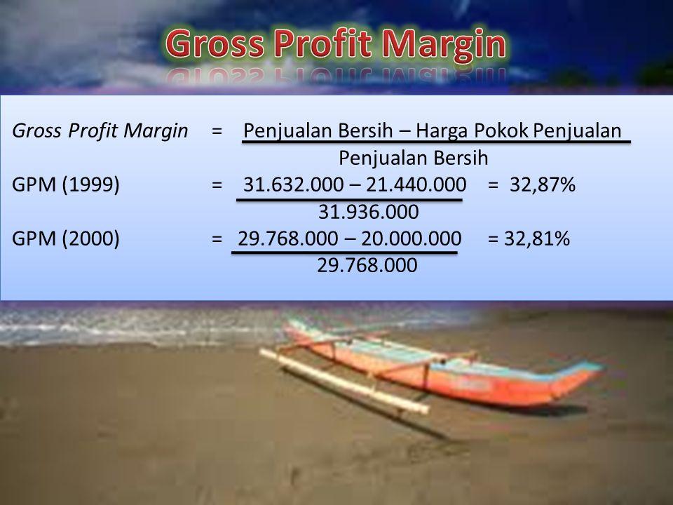 Gross Profit Margin= Penjualan Bersih – Harga Pokok Penjualan Penjualan Bersih GPM (1999) = 31.632.000 – 21.440.000 = 32,87% 31.936.000 GPM (2000) = 29.768.000 – 20.000.000 = 32,81% 29.768.000 Gross Profit Margin= Penjualan Bersih – Harga Pokok Penjualan Penjualan Bersih GPM (1999)= 31.632.000 – 21.440.000 = 32,87% 31.936.000 GPM (2000)= 29.768.000 – 20.000.000 = 32,81% 29.768.000