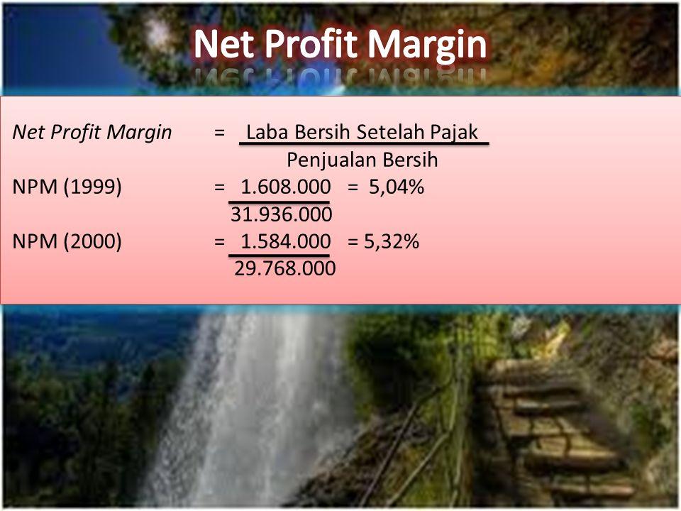 Net Profit Margin= Laba Bersih Setelah Pajak Penjualan Bersih NPM (1999) = 1.608.000 = 5,04% 31.936.000 NPM (2000) = 1.584.000 = 5,32% 29.768.000 Net Profit Margin= Laba Bersih Setelah Pajak Penjualan Bersih NPM (1999) = 1.608.000 = 5,04% 31.936.000 NPM (2000) = 1.584.000 = 5,32% 29.768.000