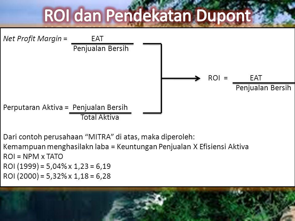 Net Profit Margin = EAT Penjualan Bersih ROI = EAT Penjualan Bersih Perputaran Aktiva = Penjualan Bersih Total Aktiva Dari contoh perusahaan MITRA di atas, maka diperoleh: Kemampuan menghasilakn laba = Keuntungan Penjualan X Efisiensi Aktiva ROI = NPM x TATO ROI (1999) = 5,04% x 1,23 = 6,19 ROI (2000) = 5,32% x 1,18 = 6,28