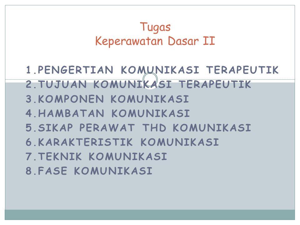 1.PENGERTIAN KOMUNIKASI TERAPEUTIK 2.TUJUAN KOMUNIKASI TERAPEUTIK 3.KOMPONEN KOMUNIKASI 4.HAMBATAN KOMUNIKASI 5.SIKAP PERAWAT THD KOMUNIKASI 6.KARAKTERISTIK KOMUNIKASI 7.TEKNIK KOMUNIKASI 8.FASE KOMUNIKASI Tugas Keperawatan Dasar II