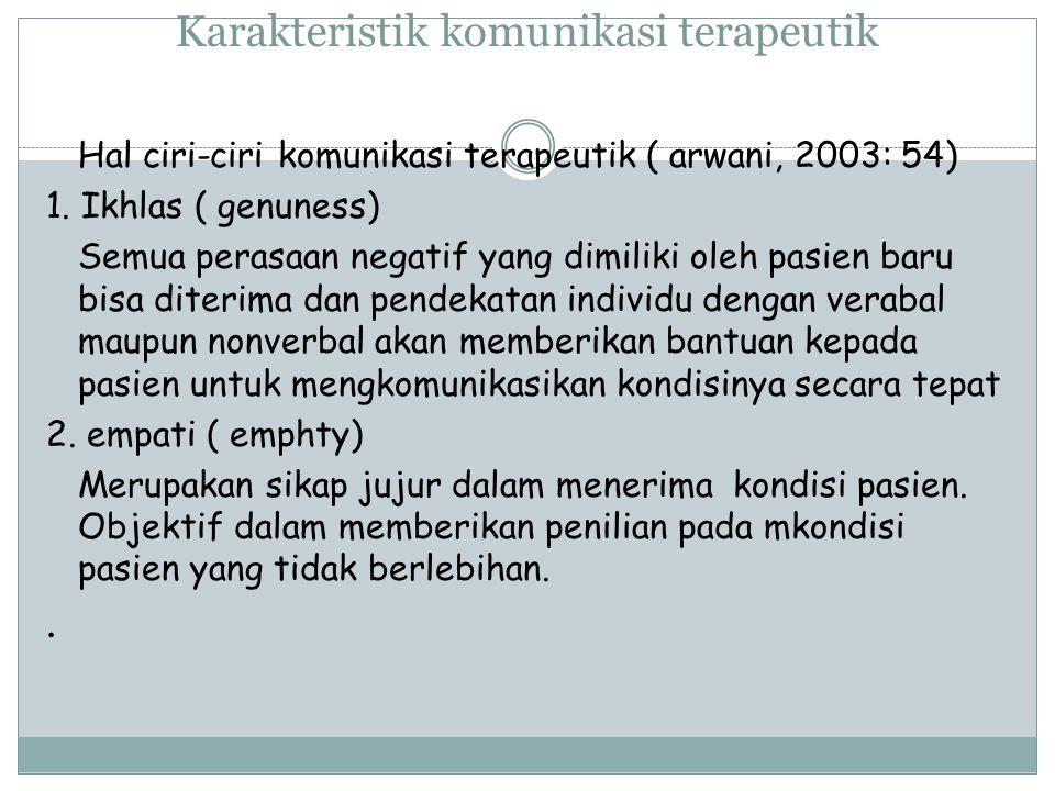 Karakteristik komunikasi terapeutik Hal ciri-ciri komunikasi terapeutik ( arwani, 2003: 54) 1.