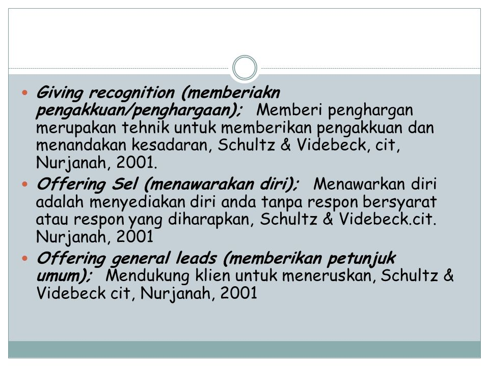 Giving recognition (memberiakn pengakkuan/penghargaan); Memberi penghargan merupakan tehnik untuk memberikan pengakkuan dan menandakan kesadaran, Schultz & Videbeck, cit, Nurjanah, 2001.