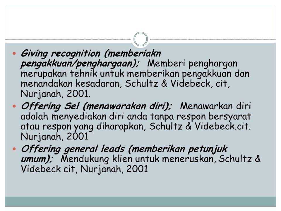 Giving recognition (memberiakn pengakkuan/penghargaan); Memberi penghargan merupakan tehnik untuk memberikan pengakkuan dan menandakan kesadaran, Schu