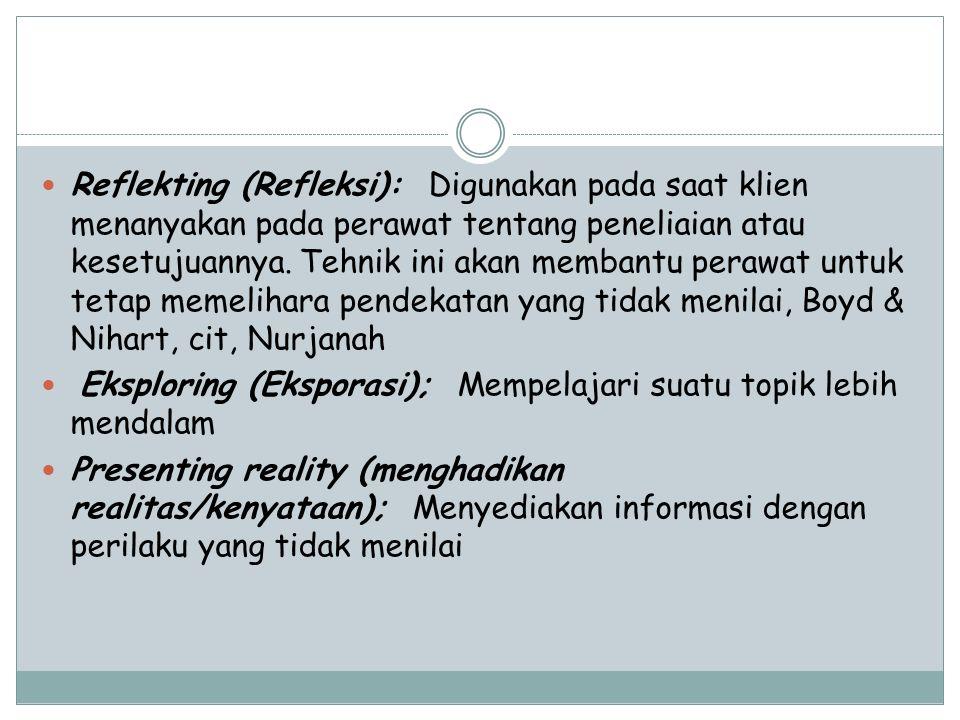 Reflekting (Refleksi): Digunakan pada saat klien menanyakan pada perawat tentang peneliaian atau kesetujuannya. Tehnik ini akan membantu perawat untuk