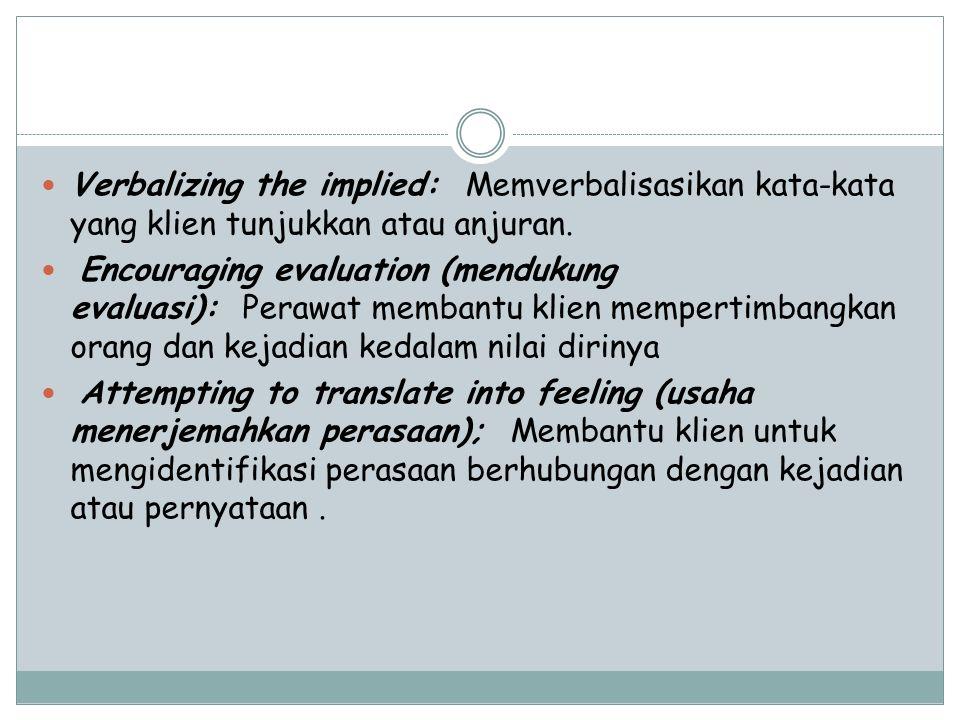 Verbalizing the implied: Memverbalisasikan kata-kata yang klien tunjukkan atau anjuran.