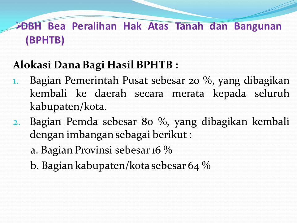  DBH Bea Peralihan Hak Atas Tanah dan Bangunan (BPHTB) Alokasi Dana Bagi Hasil BPHTB : 1. Bagian Pemerintah Pusat sebesar 20 %, yang dibagikan kembal