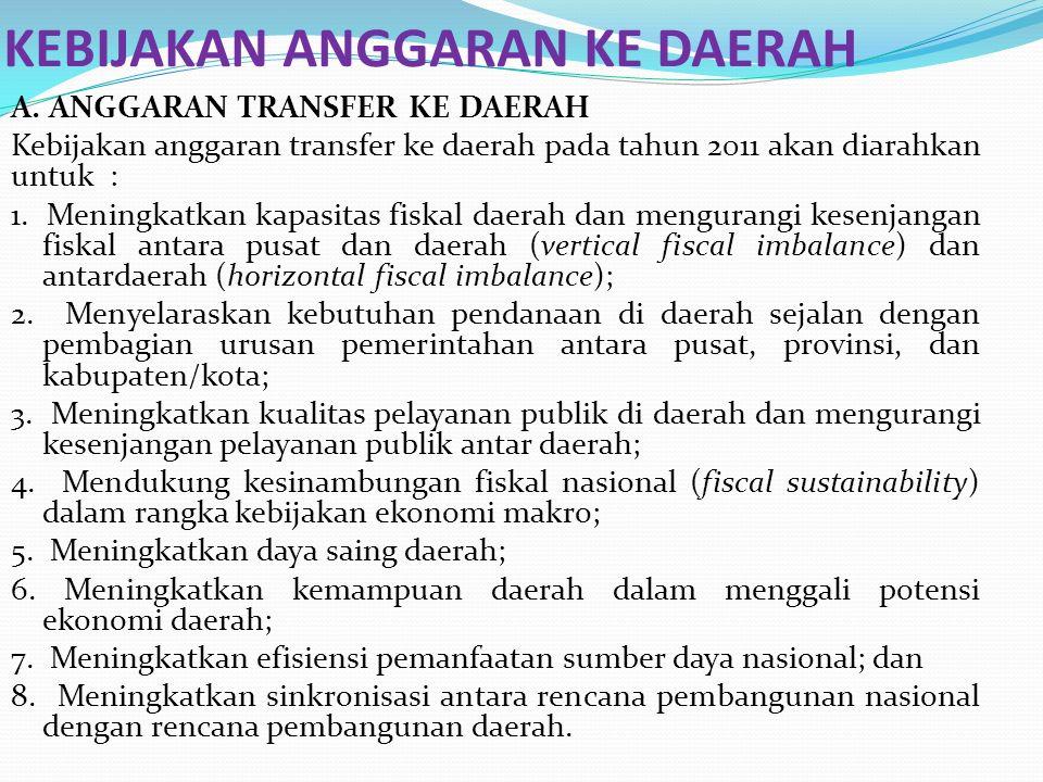 A. ANGGARAN TRANSFER KE DAERAH Kebijakan anggaran transfer ke daerah pada tahun 2011 akan diarahkan untuk : 1. Meningkatkan kapasitas fiskal daerah da