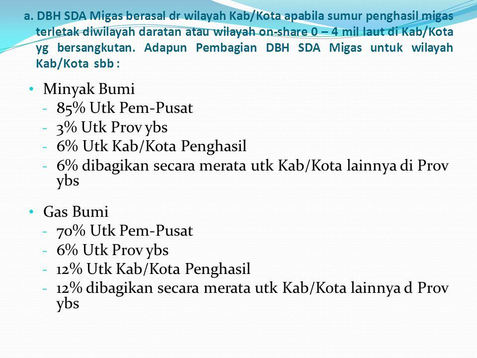 a. DBH SDA Migas berasal dr wilayah Kab/Kota apabila sumur penghasil migas terletak diwilayah daratan atau wilayah on-share 0 – 4 mil laut di Kab/Kota