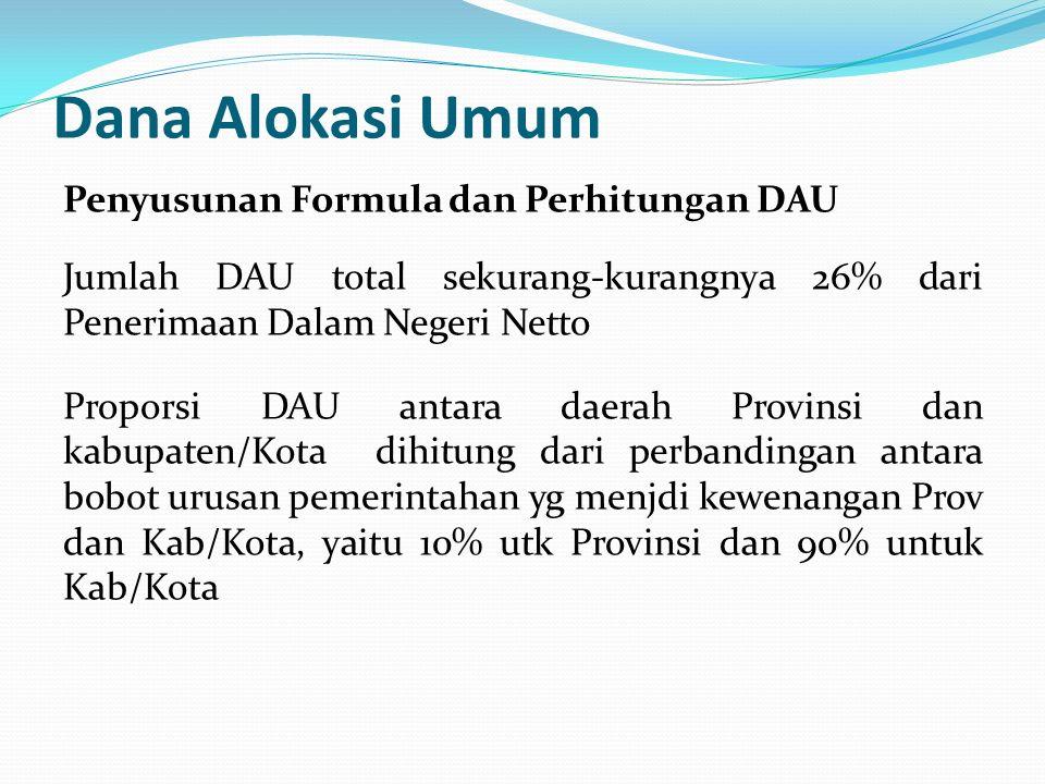 Dana Alokasi Umum Penyusunan Formula dan Perhitungan DAU Jumlah DAU total sekurang-kurangnya 26% dari Penerimaan Dalam Negeri Netto Proporsi DAU antar