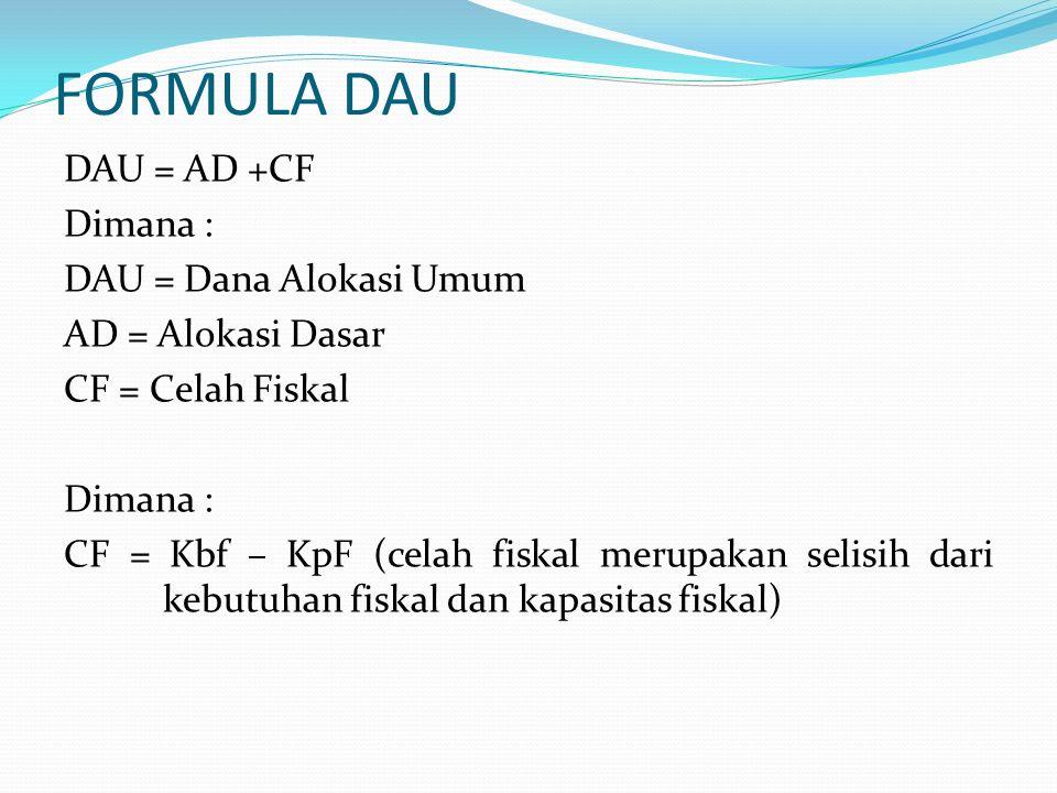 FORMULA DAU DAU = AD +CF Dimana : DAU = Dana Alokasi Umum AD = Alokasi Dasar CF = Celah Fiskal Dimana : CF = Kbf – KpF (celah fiskal merupakan selisih