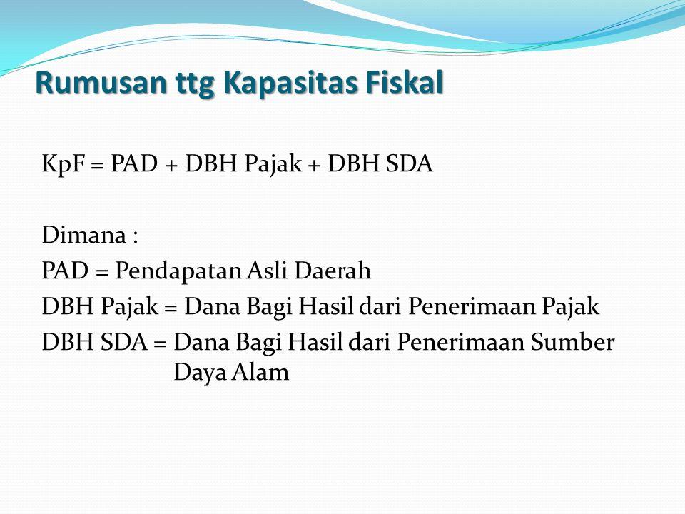 Rumusan ttg Kapasitas Fiskal KpF = PAD + DBH Pajak + DBH SDA Dimana : PAD = Pendapatan Asli Daerah DBH Pajak = Dana Bagi Hasil dari Penerimaan Pajak D
