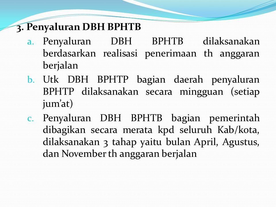 3. Penyaluran DBH BPHTB a. Penyaluran DBH BPHTB dilaksanakan berdasarkan realisasi penerimaan th anggaran berjalan b. Utk DBH BPHTP bagian daerah peny