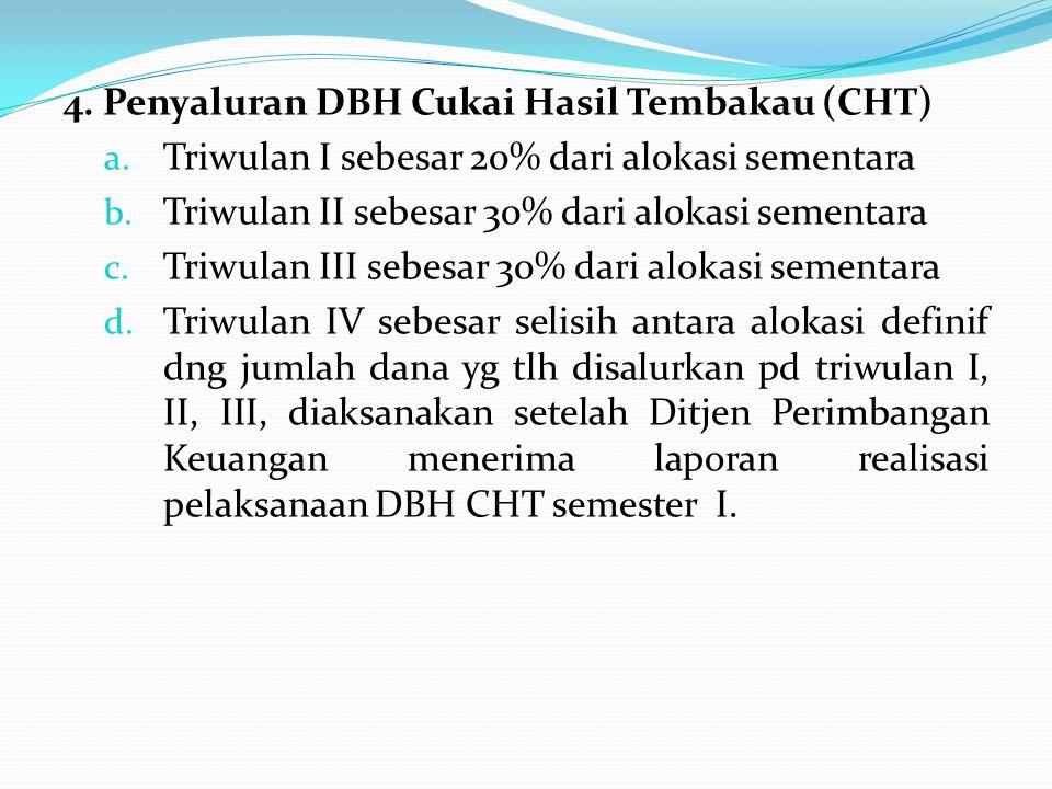 4. Penyaluran DBH Cukai Hasil Tembakau (CHT) a. Triwulan I sebesar 20% dari alokasi sementara b. Triwulan II sebesar 30% dari alokasi sementara c. Tri