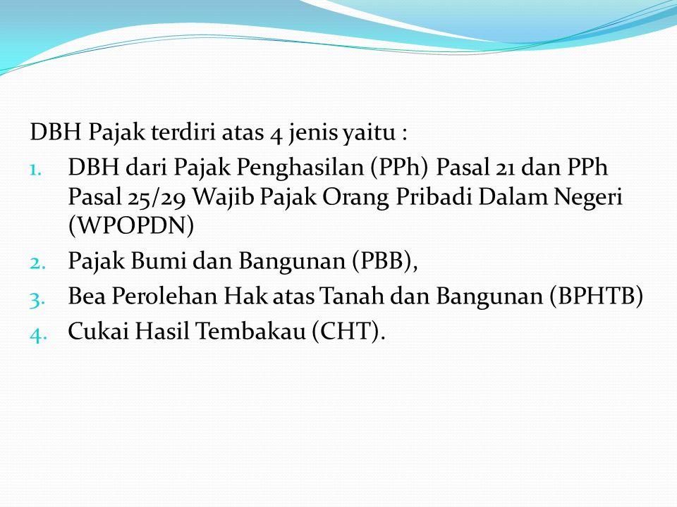 DBH Pajak terdiri atas 4 jenis yaitu : 1. DBH dari Pajak Penghasilan (PPh) Pasal 21 dan PPh Pasal 25/29 Wajib Pajak Orang Pribadi Dalam Negeri (WPOPDN