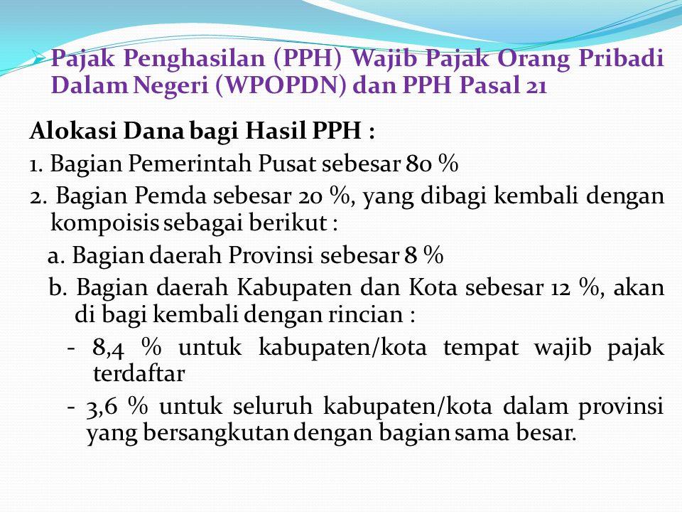  Pajak Penghasilan (PPH) Wajib Pajak Orang Pribadi Dalam Negeri (WPOPDN) dan PPH Pasal 21 Alokasi Dana bagi Hasil PPH : 1. Bagian Pemerintah Pusat se