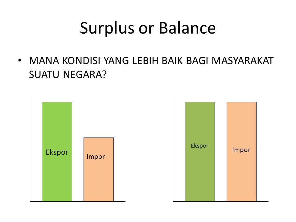 Surplus or Balance MANA KONDISI YANG LEBIH BAIK BAGI MASYARAKAT SUATU NEGARA? Impor Ekspor Impor Ekspor