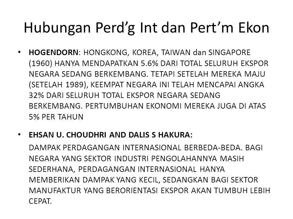 Hubungan Perd'g Int dan Pert'm Ekon HOGENDORN: HONGKONG, KOREA, TAIWAN dan SINGAPORE (1960) HANYA MENDAPATKAN 5.6% DARI TOTAL SELURUH EKSPOR NEGARA SE