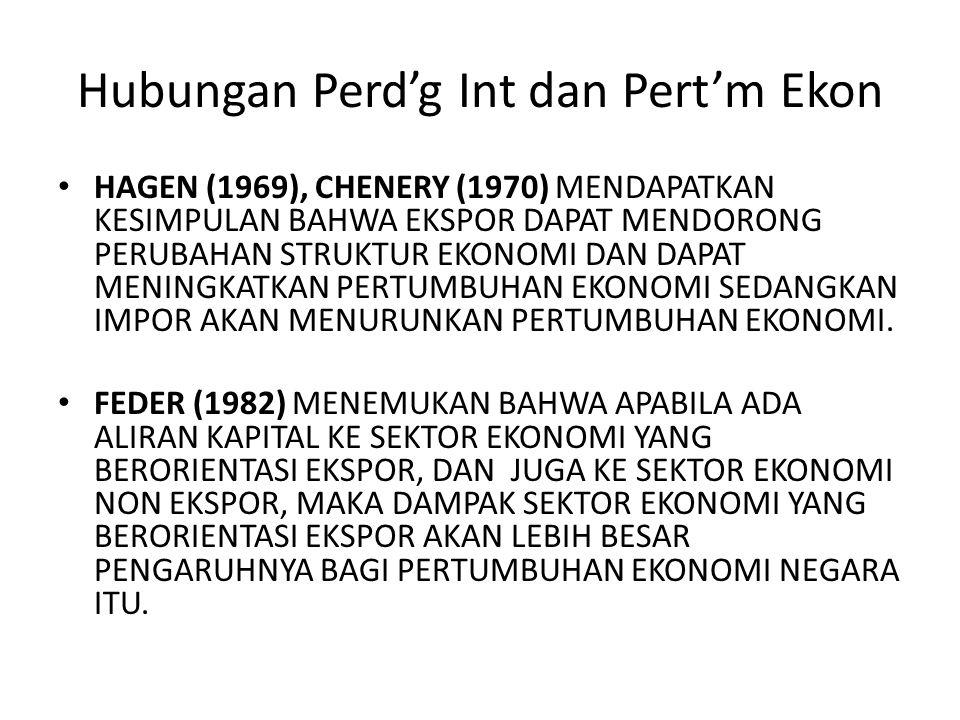 Hubungan Perd'g Int dan Pert'm Ekon HAGEN (1969), CHENERY (1970) MENDAPATKAN KESIMPULAN BAHWA EKSPOR DAPAT MENDORONG PERUBAHAN STRUKTUR EKONOMI DAN DA