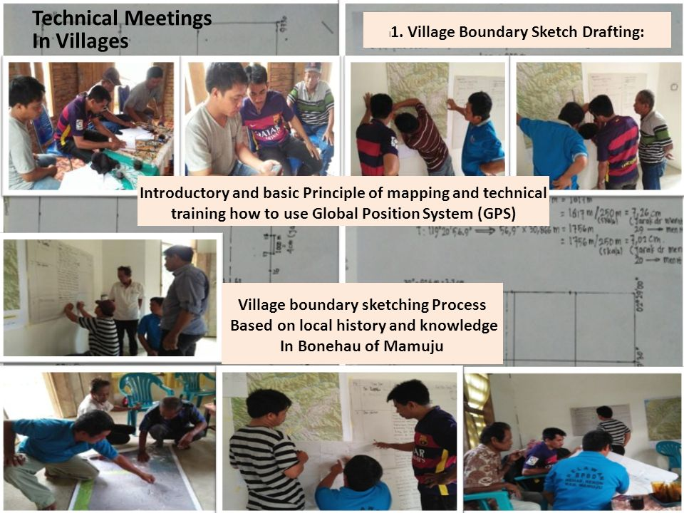 Technical Meetings In Villages l 1. Village Boundary Sketch Drafting: Introductory and basic Principle of mapping and technical training how to use Gl