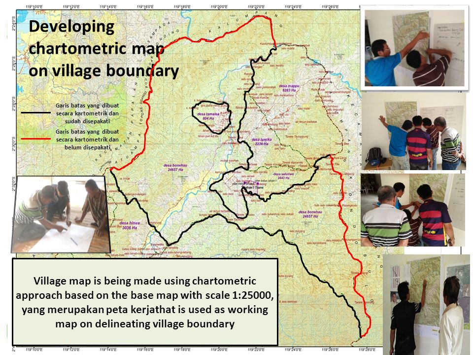 Developing chartometric map on village boundary Garis batas yang dibuat secara kartometrik dan sudah disepakati Garis batas yang dibuat secara kartometrik dan belum disepakati Village map is being made using chartometric approach based on the base map with scale 1:25000, yang merupakan peta kerjathat is used as working map on delineating village boundary